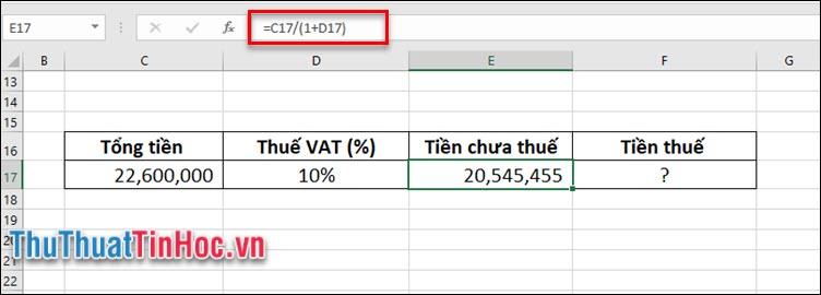 Tính số tiền của chiếc máy tính khi chưa chịu thuế