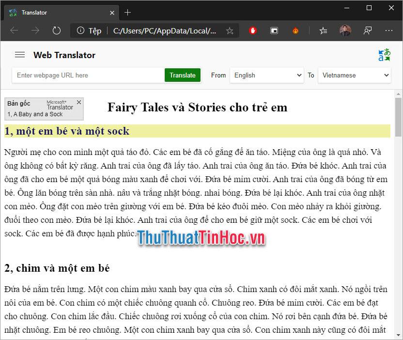 Bản dịch html sẽ được hiển thị trên trình duyệt web