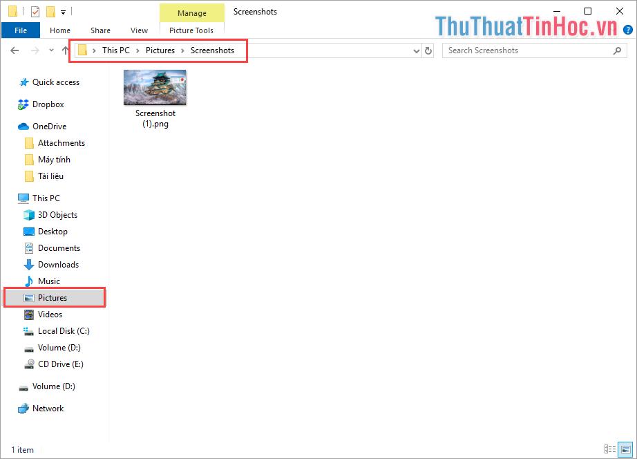 Hình ảnh sau khi chụp xong thì hệ thống sẽ tự động lưu trữ vào trong thưu mục Picture với tên Folder là ScreenShots