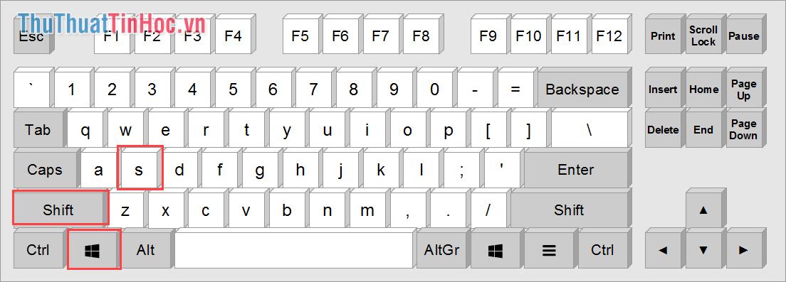 Sử dụng tổ hợp phím Windows + Shift + S