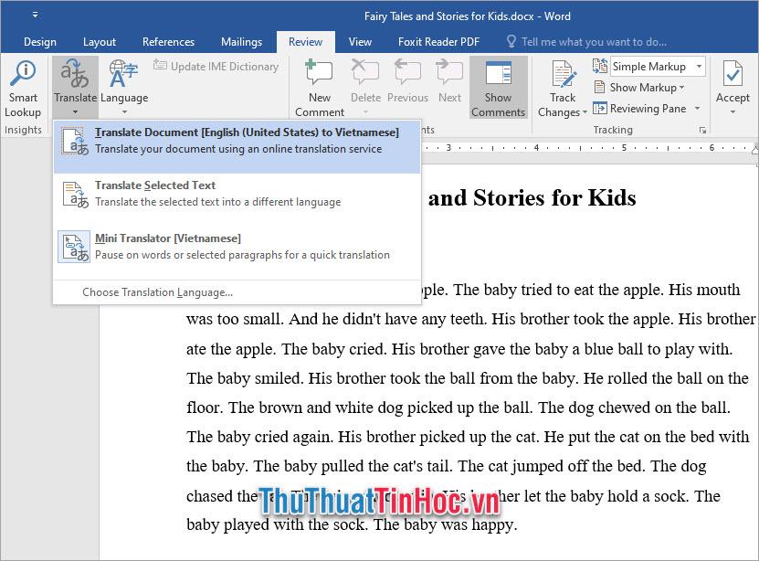 Translate Document Dịch toàn bộ tài liệu Word của bạn sang tiếng Việt