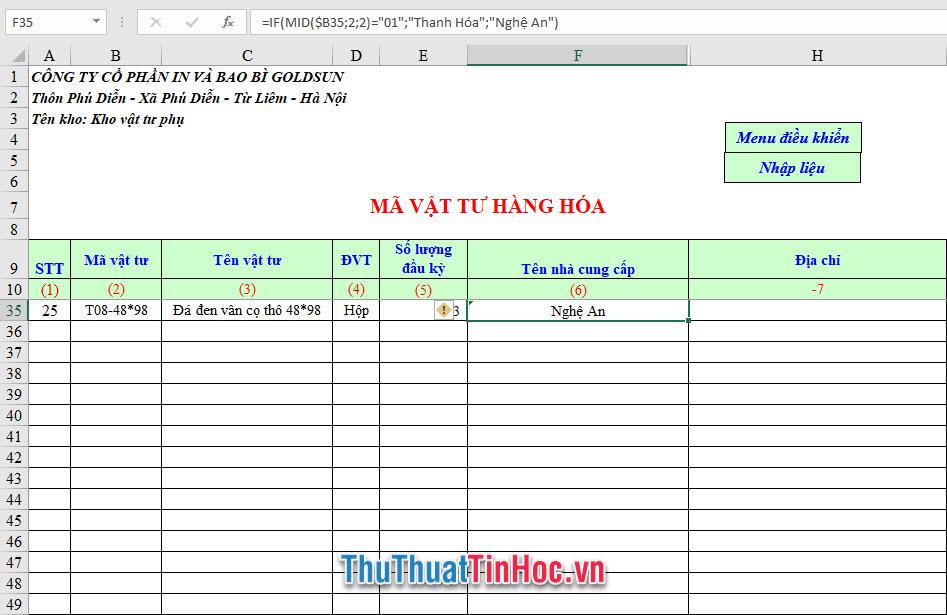 File Excel quản lý xuất nhập tồn kho mã vật tư hàng