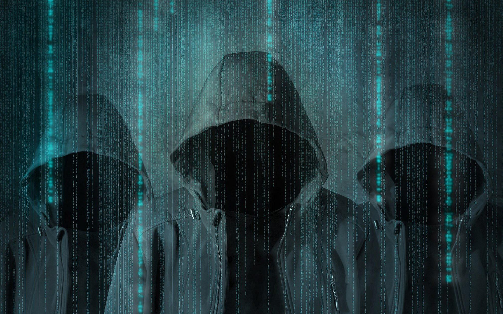 Hình ảnh Hacker ba tên trộm chùm mũ