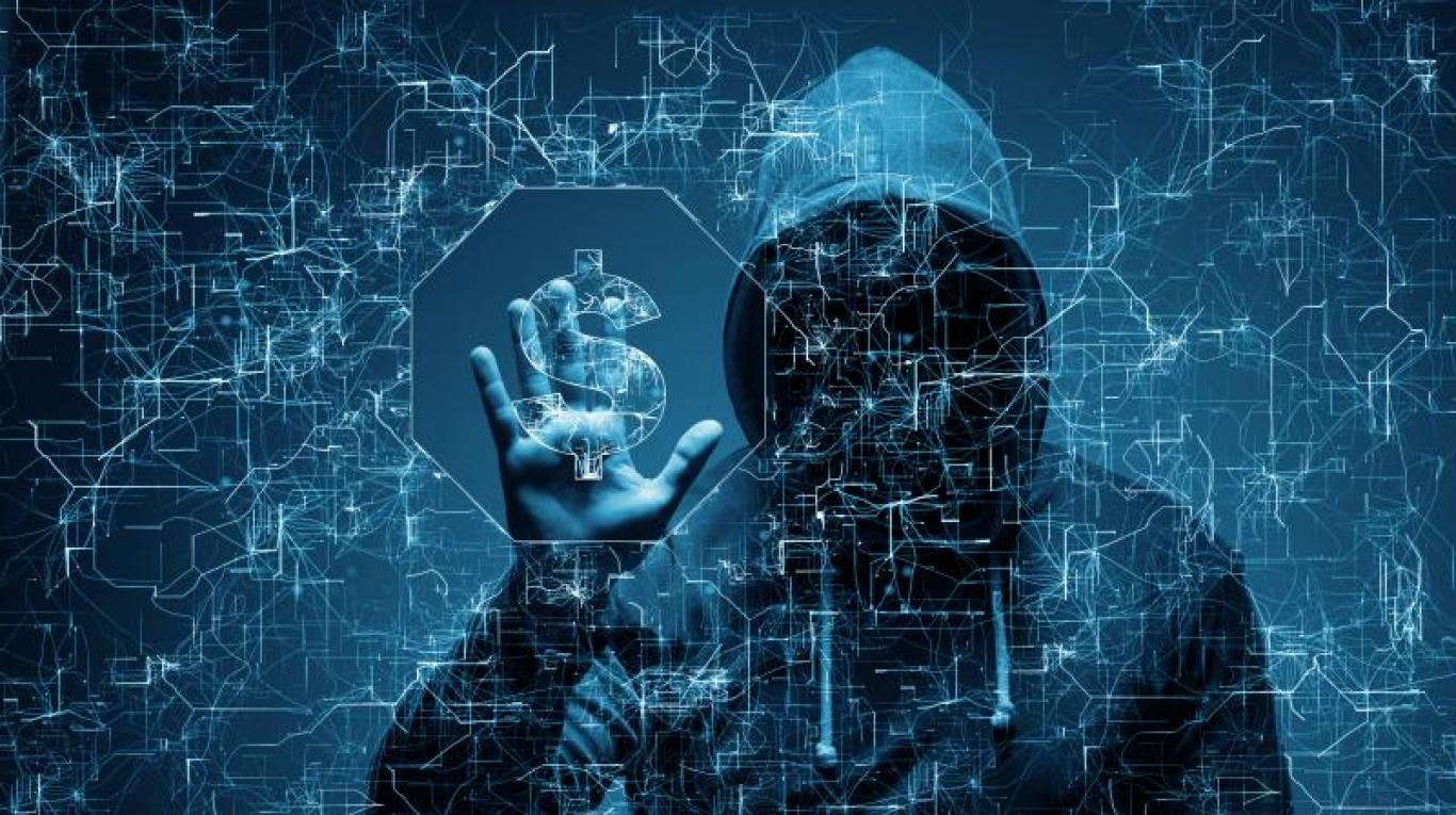 Hình ảnh hacker với kết nối phức tạp