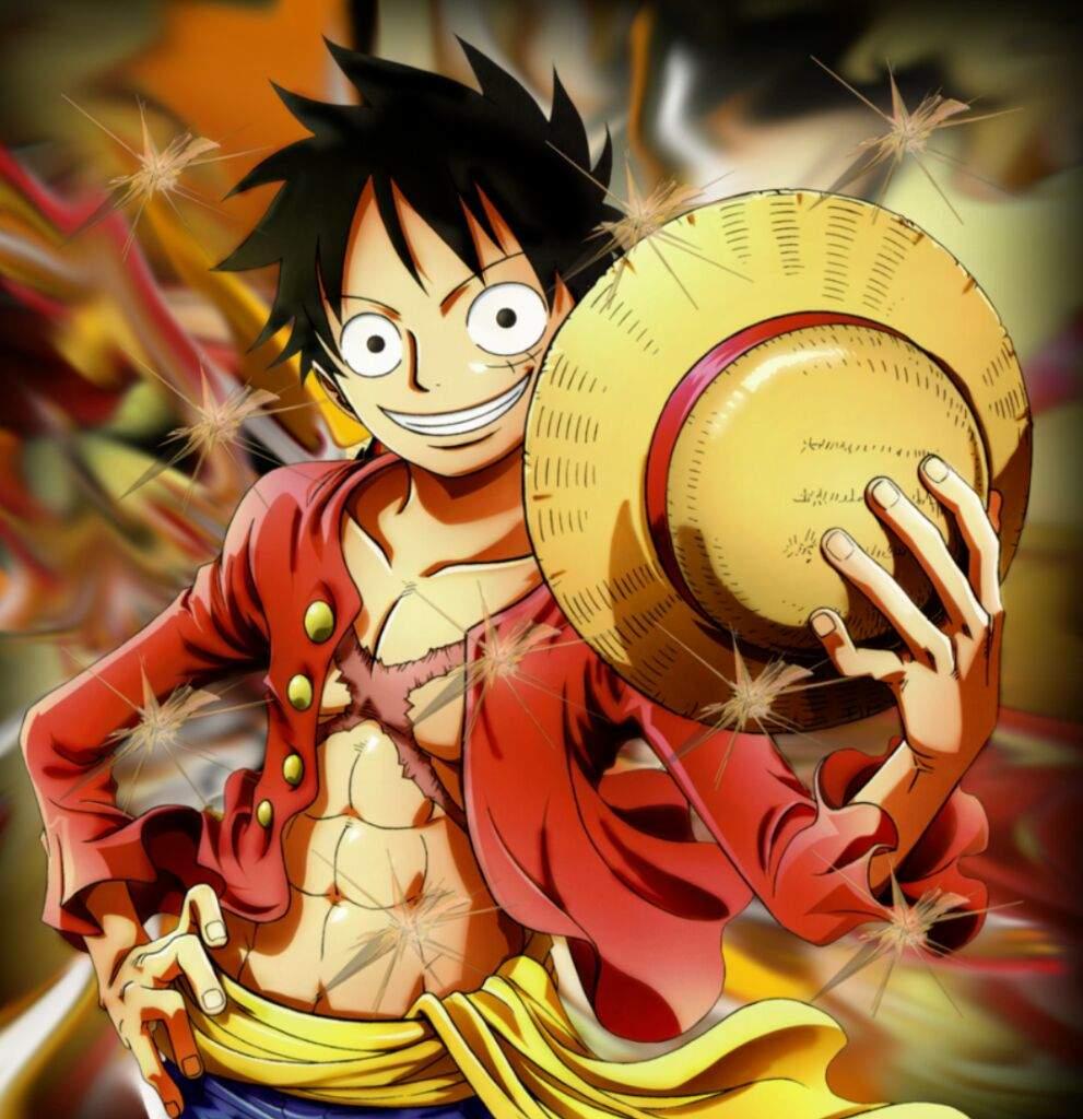Hình ảnh Luffy cầm mũ rơm lấp lánh