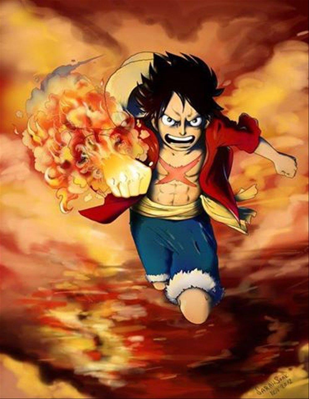 Hình ảnh Luffy nắm đấm lửa cực ngầu