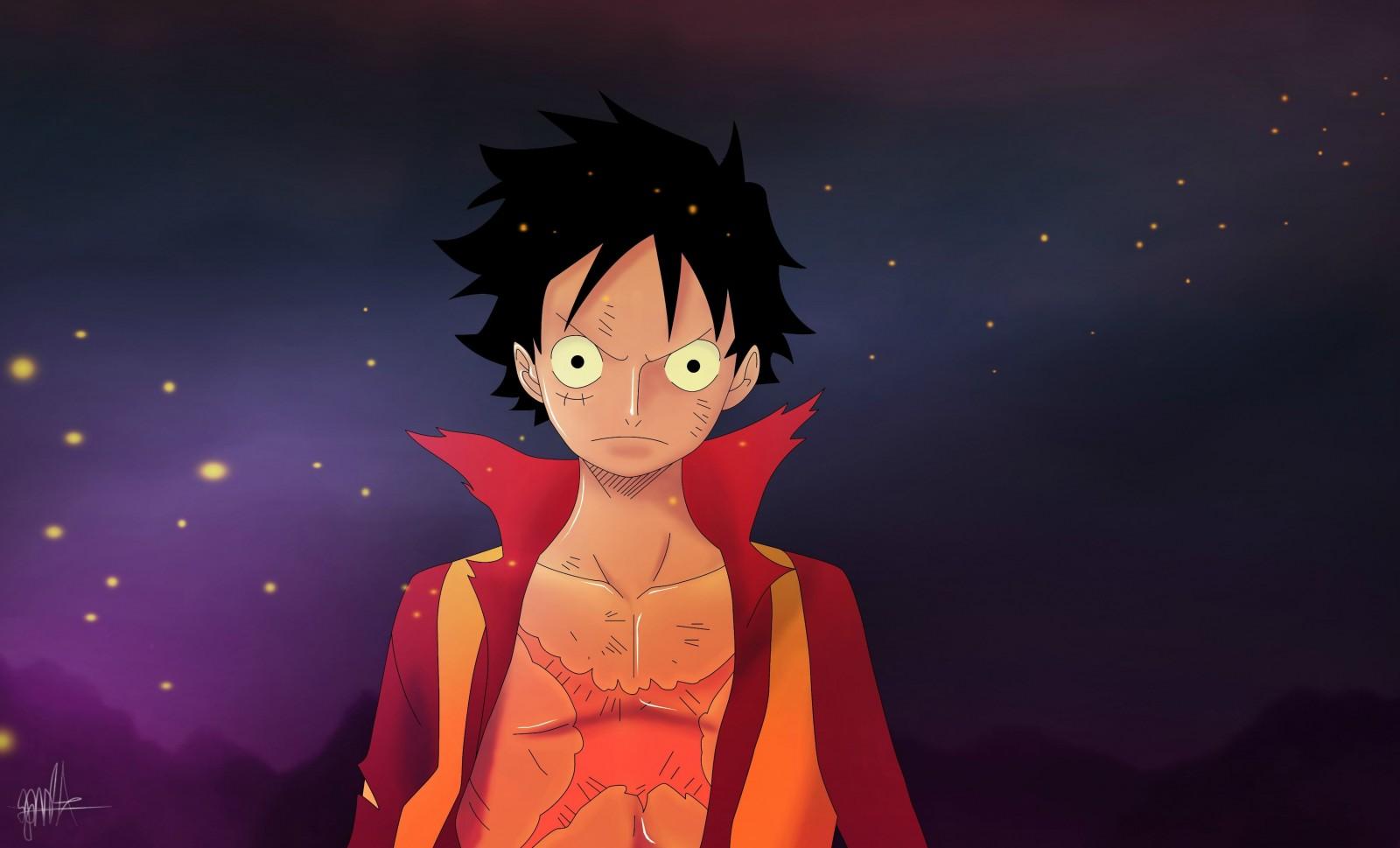HÌnh ảnh Luffy và bầu trời huyền bí