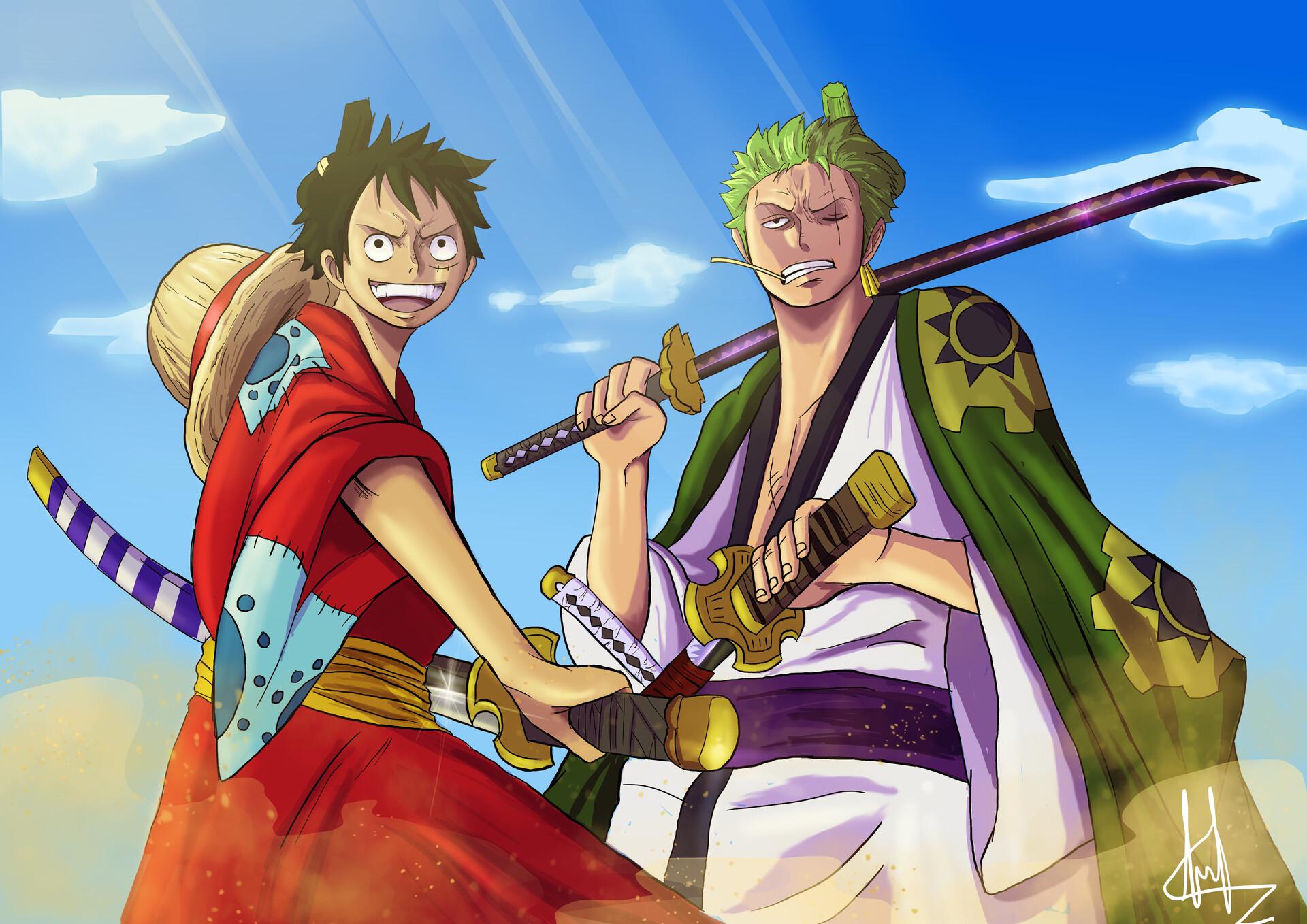 Hình ảnh Luffy và Zoro cầm kiếm