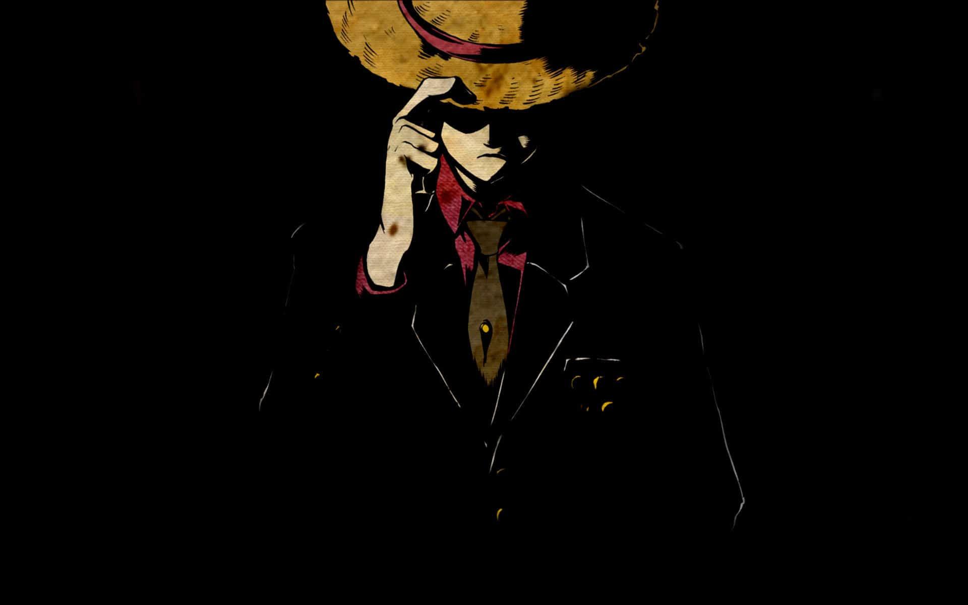 Hình ảnh Luffy vest và nền đen cực đẹp