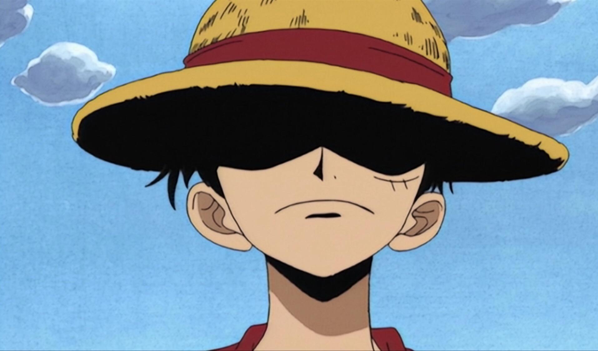 Hình ảnh Luffy với vành mũ rơm che khuất mắt